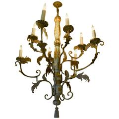 Italian Baroque Wood and Iron Chandelier, circa 17th Century