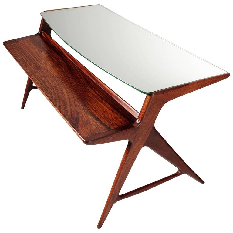 Italian Side Table in Rosewood with Mirrored Top
