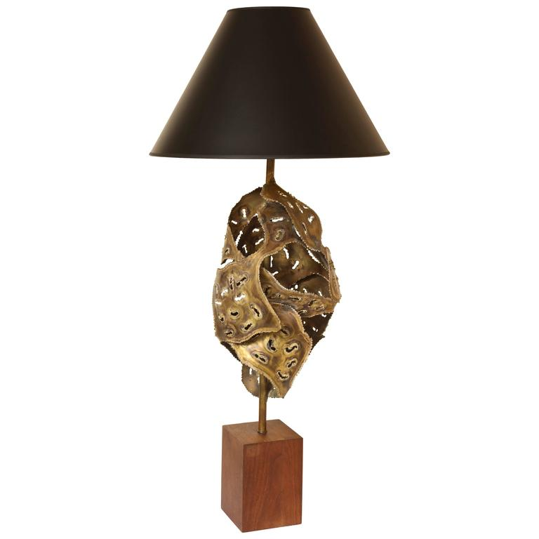 Brutalist Large And Sculptural Welded Metal Table Lamp