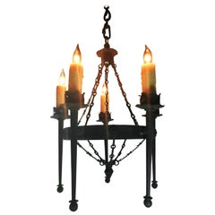 Vintage Renaissance Style Five-Arm Cast Iron Chandelier, circa 1920s