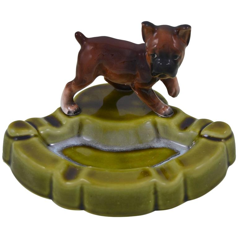 Green Porcelain Ashtray with Dog , Japan , Mid-20th Century  For Sale