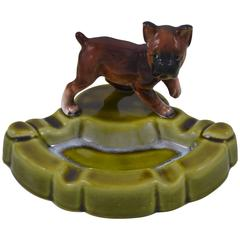 Green Porcelain Ashtray with Dog , Japan , Mid-20th Century