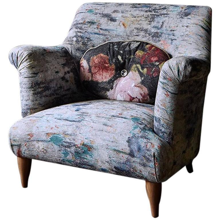 Goddard Armchair in Martyn Thompson Studio Drippy For Sale