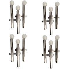 Set of Four Sciolari Italian 1960s Mid-Century Modern Wall Lights