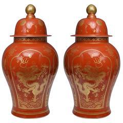 Pair of Famille Verte Coral-Ground Porcelain Jars