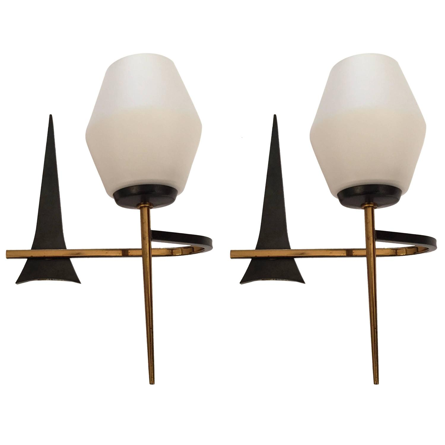 Wall Sconces Mid Century Modern : Pair of French 1950s Mid-Century Modern Sconces at 1stdibs