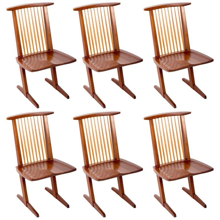 Set of Six Walnut Conoid Chairs by George Nakashima For Sale