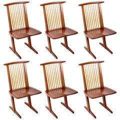Set of Six Walnut Conoid Chairs by George Nakashima