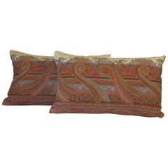 Pair of 19th Century Scottish Wool Paisley Pillows by Mary Jane McCarty Design