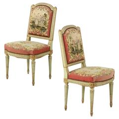 19th Century Pair of French Louis XVI Style Side Chairs in Green Paint