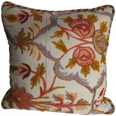 Early 20th Century Crewel Work Pillow by Mary Jane McCarty Design