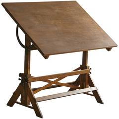 Antique Industrial American Oak Drafting Table