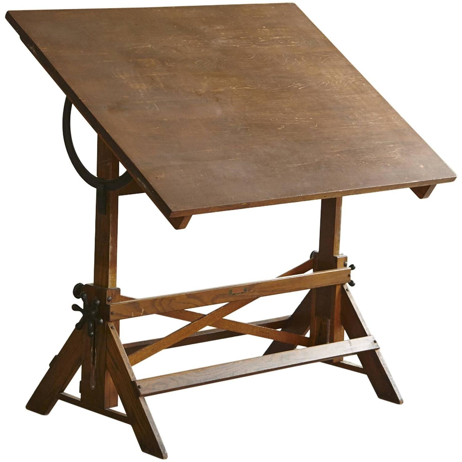Antique Industrial American Oak Drafting Table At 1stdibs