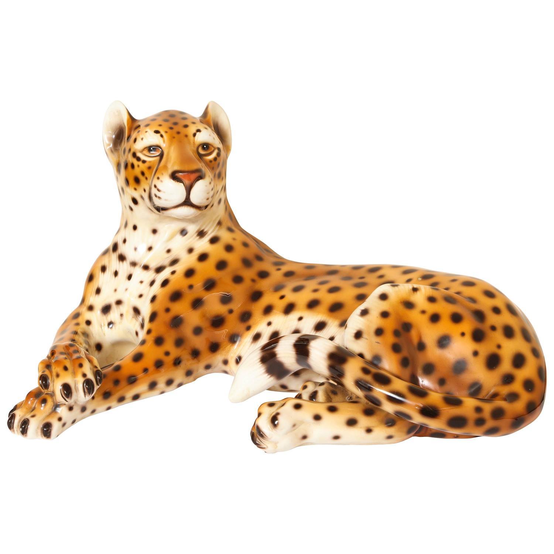 Italian Mid Century Modern Ceramic Cheetah Sculpture