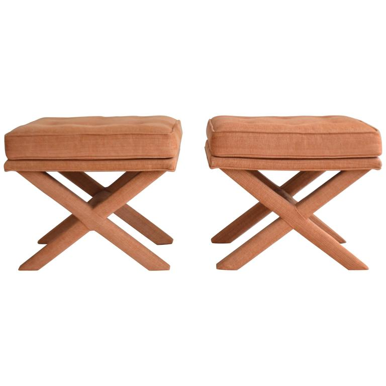 Tremendous Pair Of Mid Century X Base Stools Benches For Sale At 1Stdibs Beatyapartments Chair Design Images Beatyapartmentscom