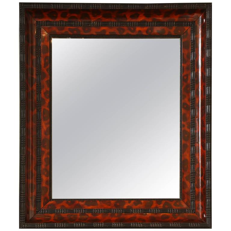 Ebonized and Lacquered Faux Tortoise Shell Decorated Mirror Frame For Sale