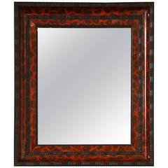 Ebonized and Lacquered Faux Tortoise Shell Decorated Mirror Frame