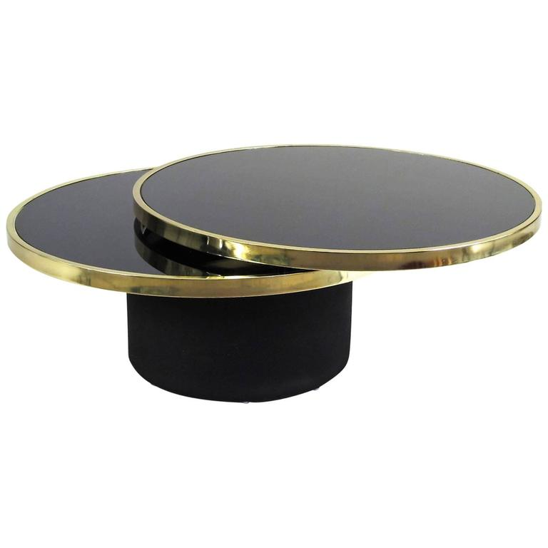 Dia Round Swivel Top Black Glass Coffee Table At 1stdibs