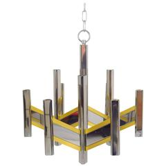 Gaetano Sciolari Chrome and Brass Chevron Chandelier
