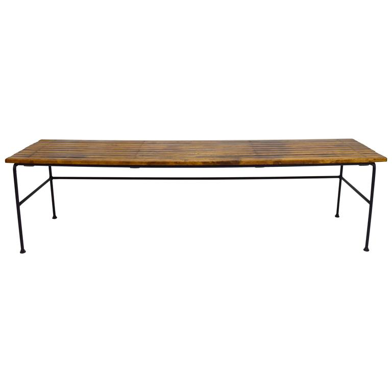 Arthur Umanoff Iron And Slatted Wood Bench At 1stdibs