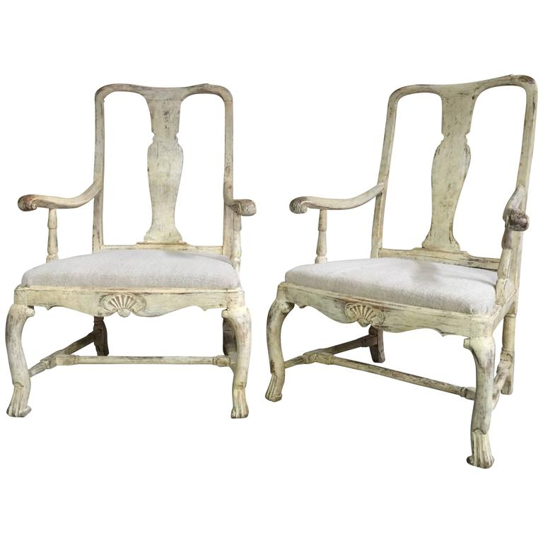 Pair of 18th Century Swedish Period Rococo Chairs