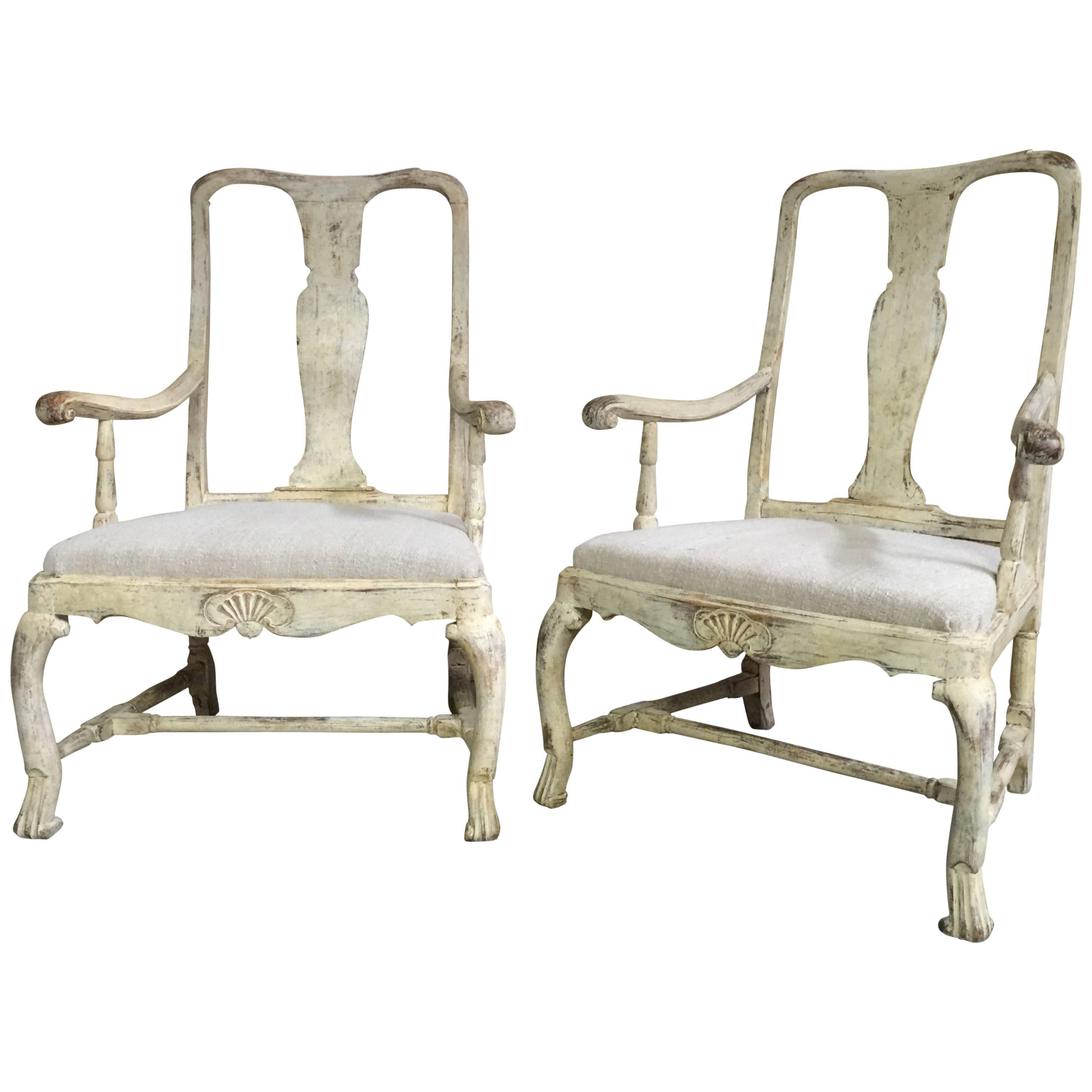 Pair of 18th Century Swedish Period Rococo Chairs