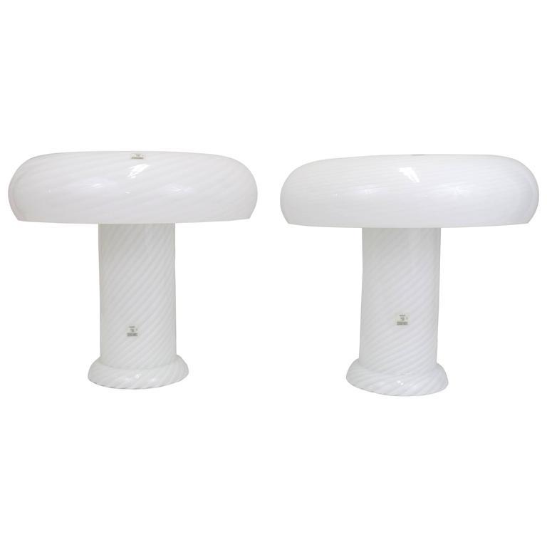 Vetri Murano Swirl Glass Mushroom Lamps, Pair 1