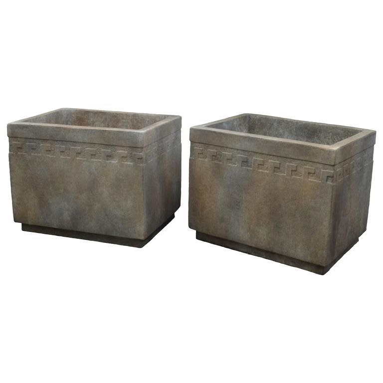 rectangular cement planter with greek key design 1 browse cement furniture
