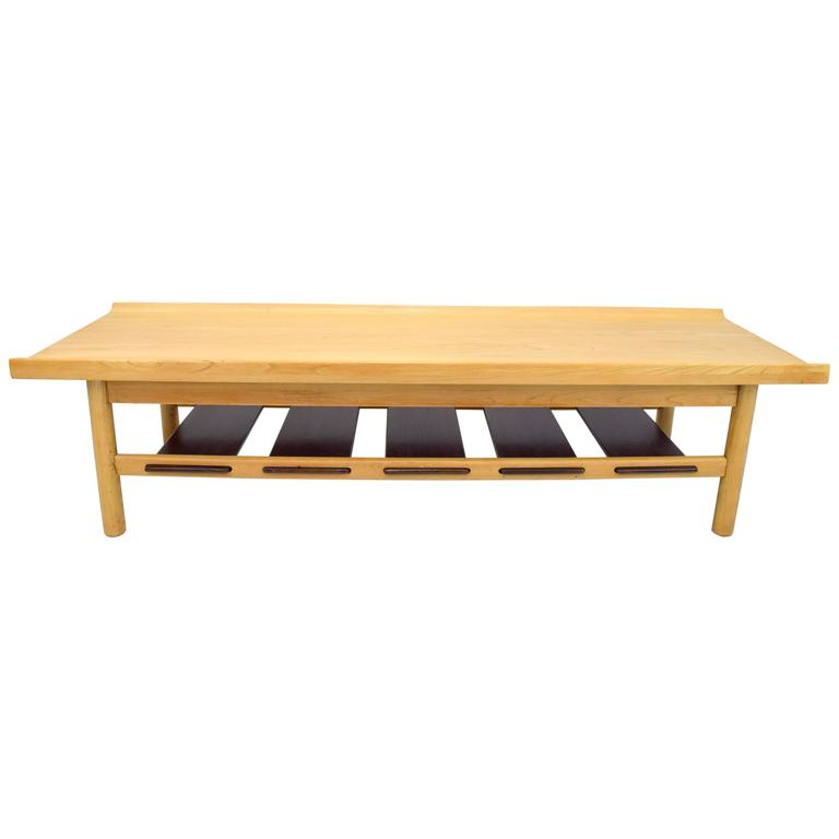 Lawrence Peabody Bleached Walnut Coffee Table Bench for Richardson Nemschoff For Sale