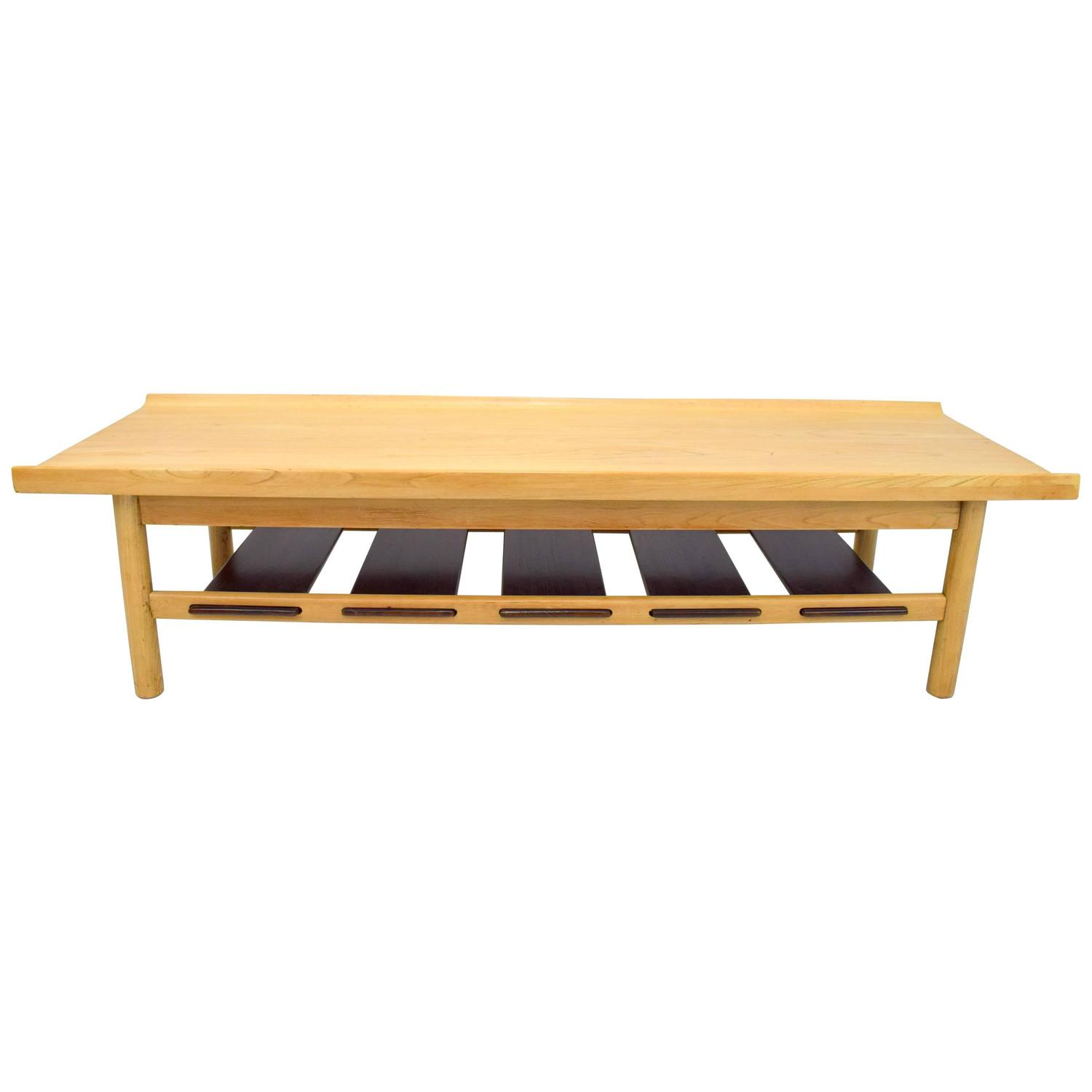 lawrence peabody bleached walnut coffee table bench for richardson