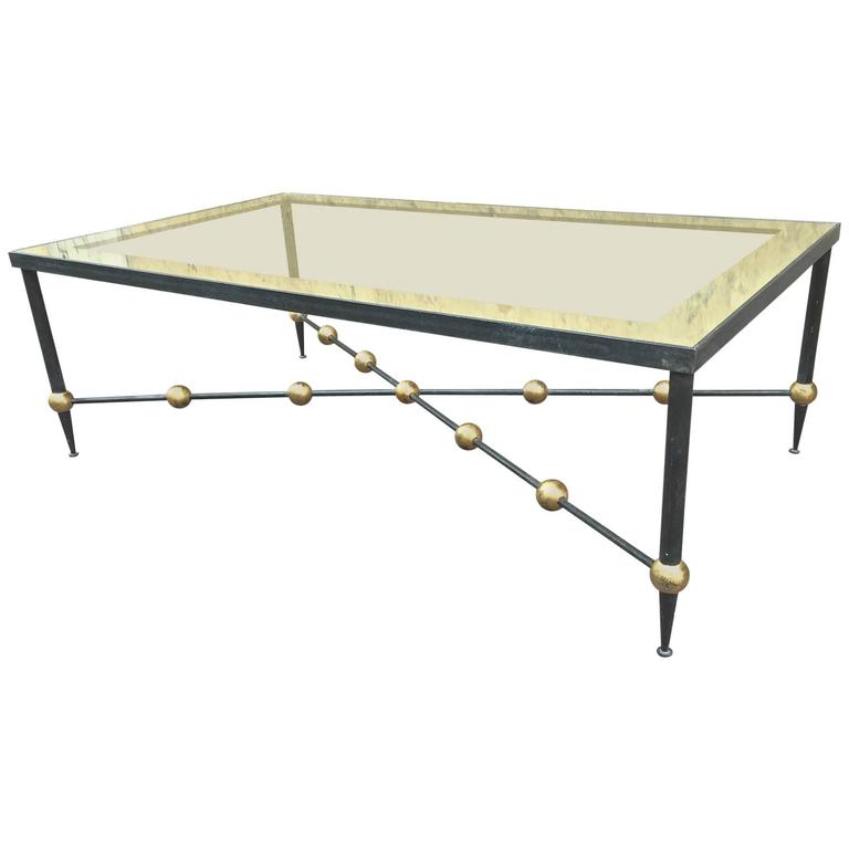 The Big Ball Coffee Table: Rene Prou Large Wrought Iron Coffee Table With Gold Leaf