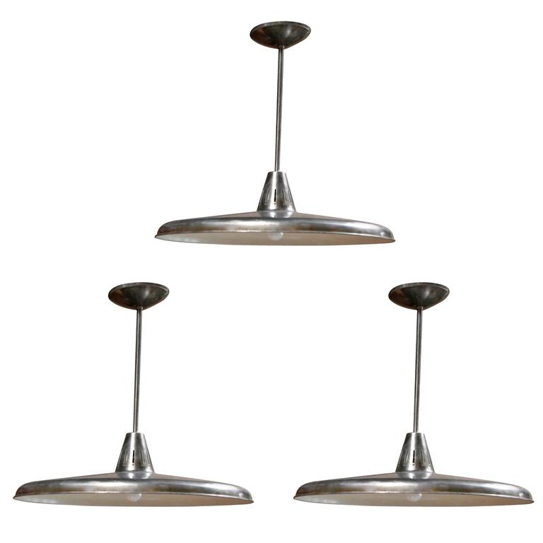 Three Italian Industrial 1960s Metal Pendant Lights 1