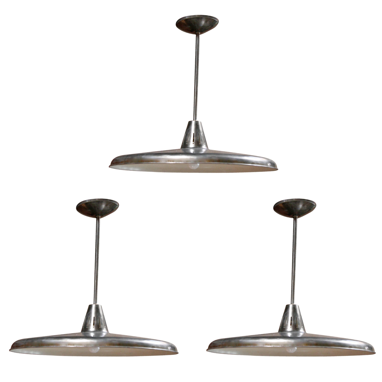 Three Italian Industrial 1960s Metal Pendant Lights