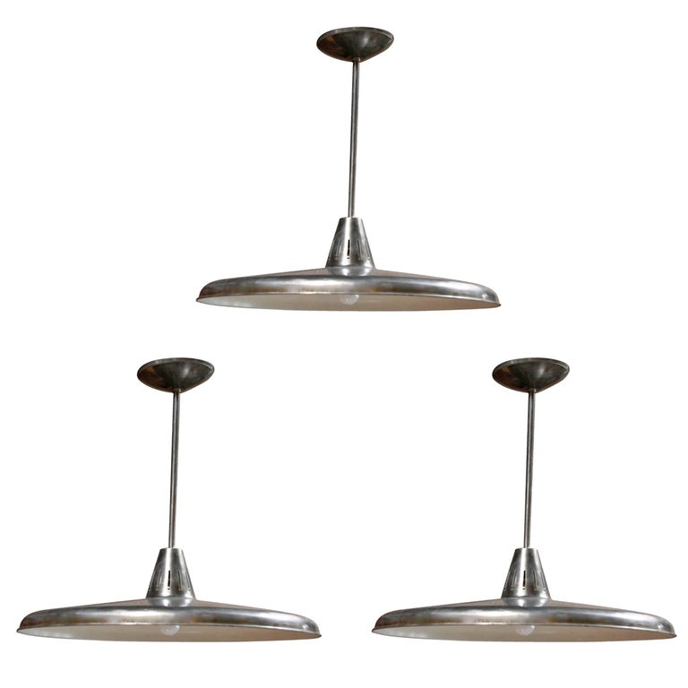 Three Italian Industrial 1960s Metal Pendant Lights For Sale
