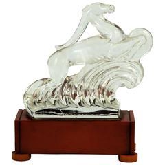 Signed Steuben Art Deco Glass and Bakelite Gazelle Lamp