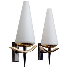 Vintage French Sconces by Arlus with Conic White Glass Shades and Brass, 1950s