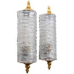 Mid-Century French Glass Scrolls Sconces in the manner of Barovier & Toso, 1950s