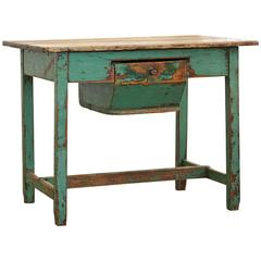 19th Century Primitive Dough Farm Table with Large Drawer