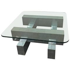 Paul Evans Cityscape Coffee Table with Glass Top, circa 1970s