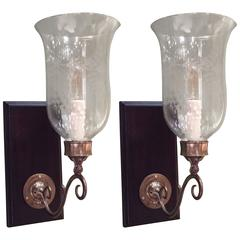 Pair of Hurricane Shade Sconces with Etched Glass
