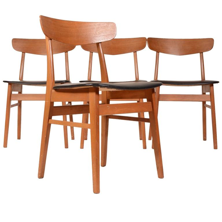 set of four teak and birch danish dining chairs for sale at 1stdibs