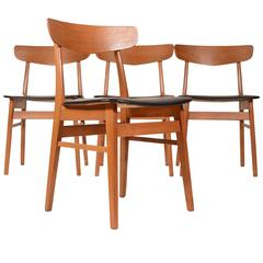 Set of Four Teak and Birch Danish Dining Chairs