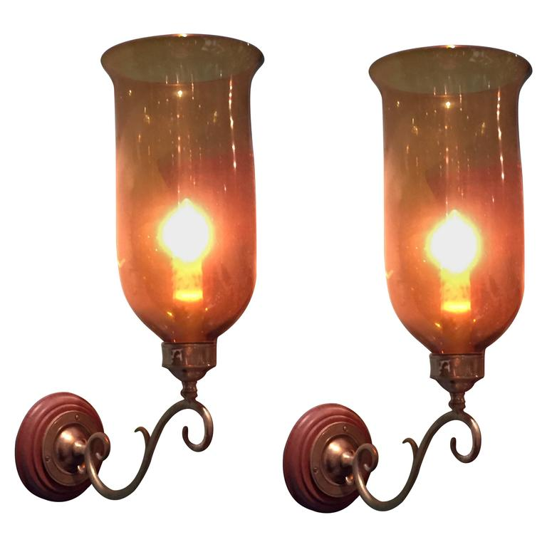 Pair of Hurricane Shade Sconces with Amber Glass