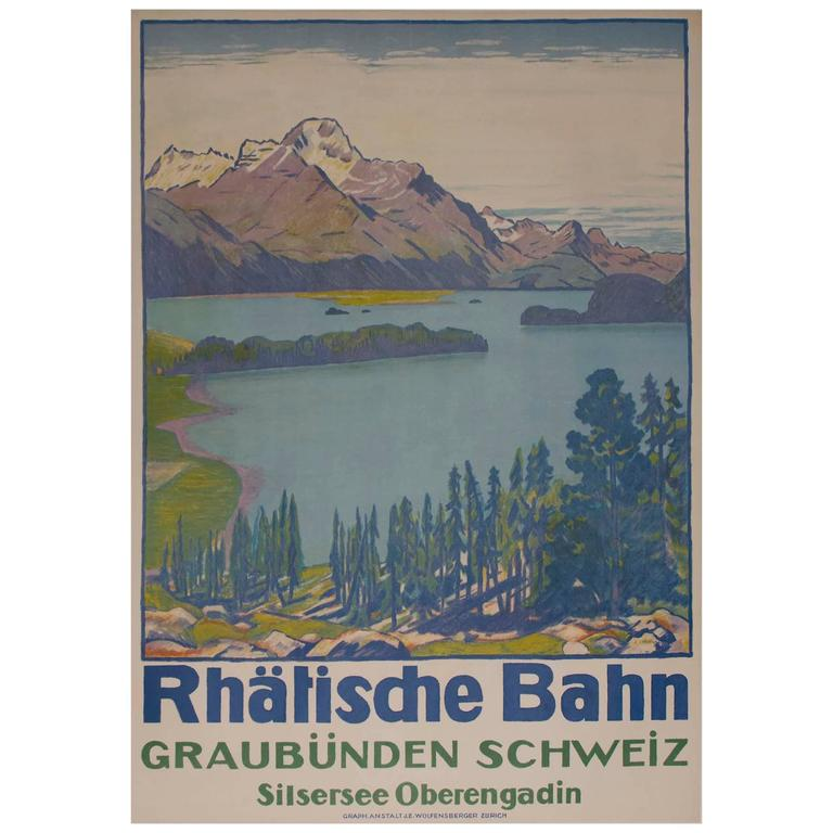 Swiss Travel Poster for Lake of Sils by Emil Cardinaux