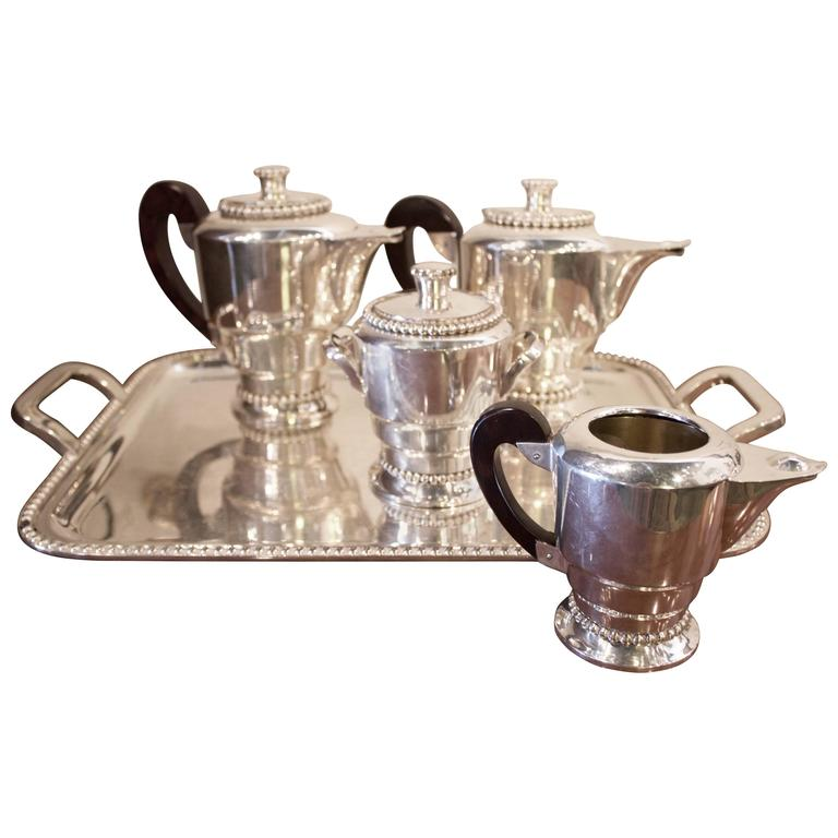 French Art Deco Silvered Five Pieces Tea and Coffee Set