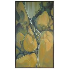 Large 1970 Modern Art Abstract Oil Painting