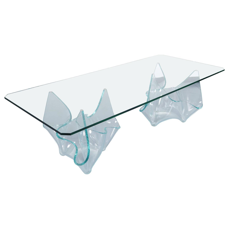 vintage sculptural glass dining table by laurel fyfe for sale at