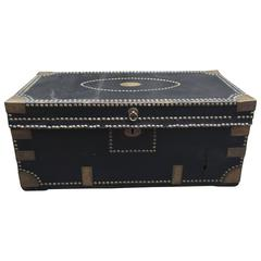 Leather and Brass Tack Adorned Camphor Trunk