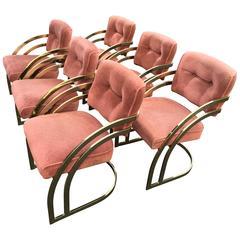 Milo Baughman Style Brass Dining Chair Set
