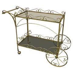 Exceptional Italian Two-Tier Brass Bar or Tea Cart